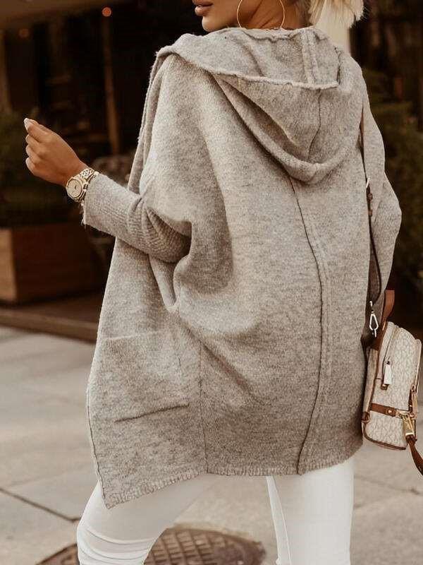 Fashion Casual Pure Hoodie Long sleeve Knit Cardigan