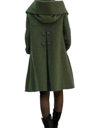 Fashion Casual Pure Lapel Long sleeve Wool Coats