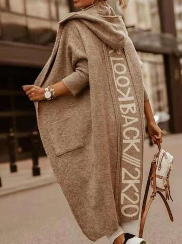 Fashion Casual Word print Knit Hoodie Coats