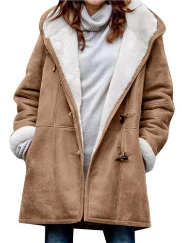 Fashion Casual Pure Plush Long sleeve Hoodie Coats