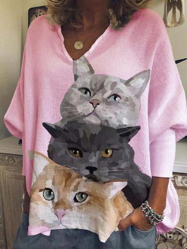 V neck cat printed women long sleeve casual blouses