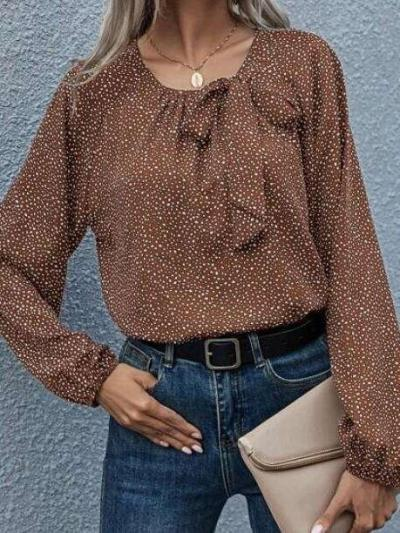 Fashion Point print Bowknot Round neck Long sleeve Blouses