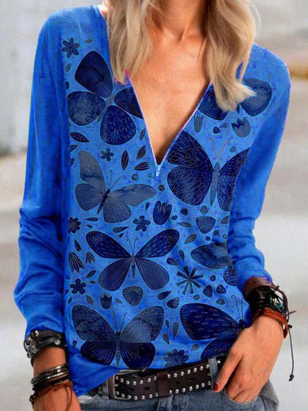 Butterfly Printed V Neck Printed  Zipper T-shirts