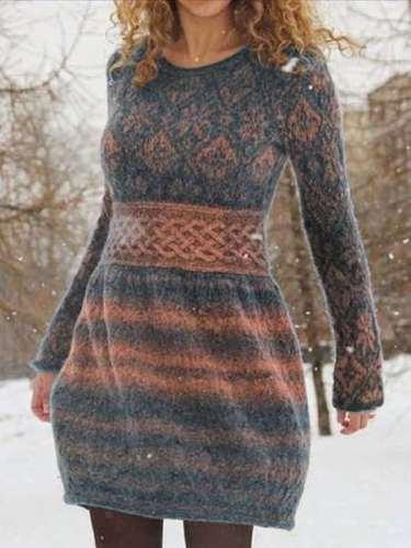 Fashion Print Round neck Long sleeve Sweater Skater Dresses