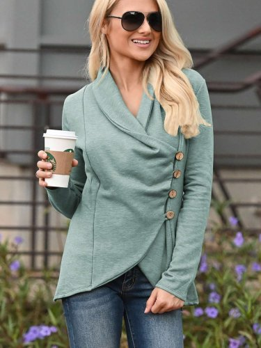 Fashion Pure Lapel Long sleeve Fastener Irregular Cardigan Sweatshirts