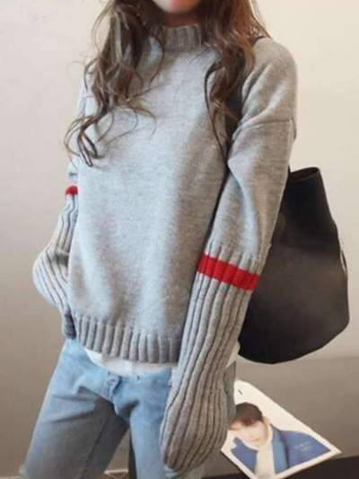 Casual Gored Stand collar Long sleeve Knit Sweaters