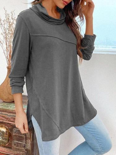 Solid Pile Neck Irregular Hem Slit T-shirts