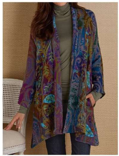 Casual Retro print Long sleeve Cardigan