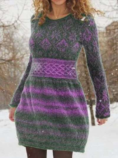 Fashion Print Round neck Long sleeve Sweater Skater Dresses