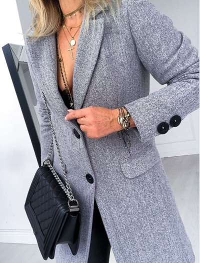 Fashion Pure Lapel Long sleeve Wool Trench Coats