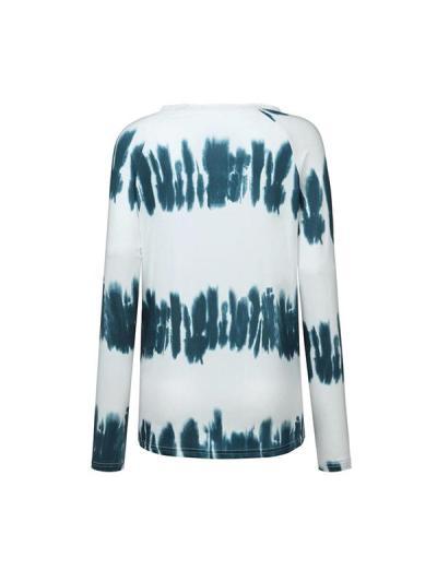 Lace round collar stripe tie-dye women T-shirts