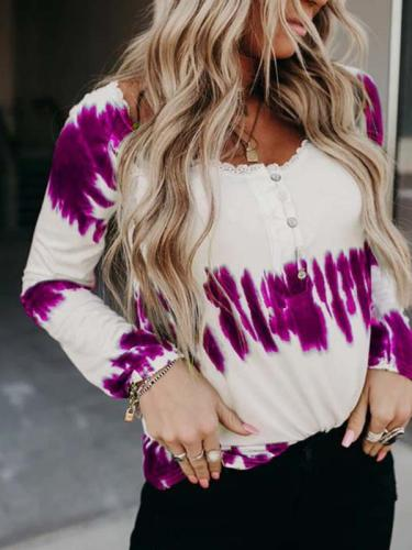 Lace round collar stripe tie-dye women T-shirts