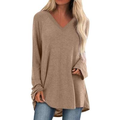 Casual Plus Pure V eck Long sleeve T-Shirts