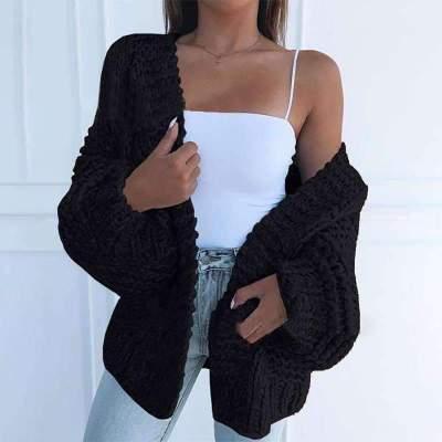 Casual Loose Pure Long sleeve Knit Cardigan