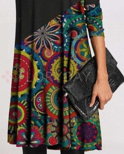 Stylish Gored Retro print High collar Long sleeve Shift Dresses