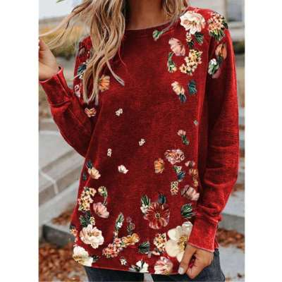 Loose Floral print Round neck Long sleeve T-Shirts