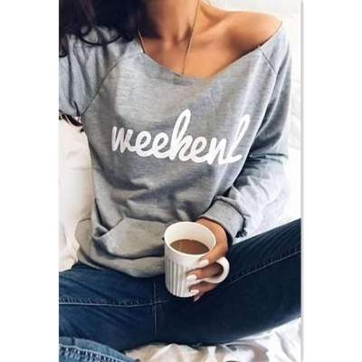 Fashion Word print Round neck Long sleeve Pocket T-Shirts