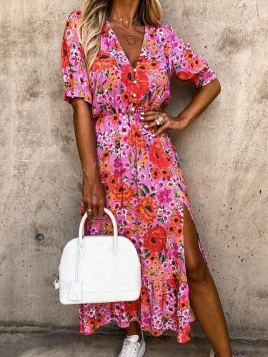 Fashion Floral print V neck Fastener Short sleeve Vent Skater Dresses