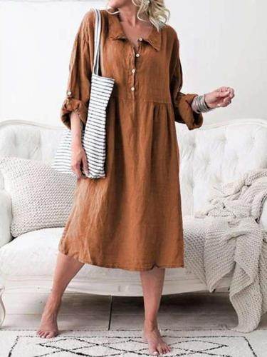 Casual Loose Pure Lapel Fastener Long sleeve Maxi Dresses