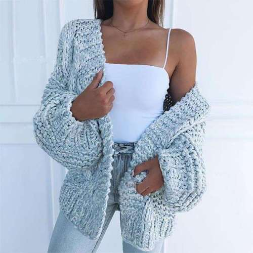Casual Loose Pure Long sleeve Knit Cardigan