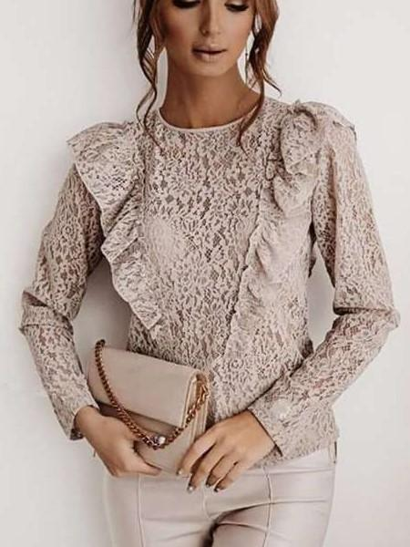 Stylish Lace Hollow out Round neck Long sleeve Blackless Falbala Blouses
