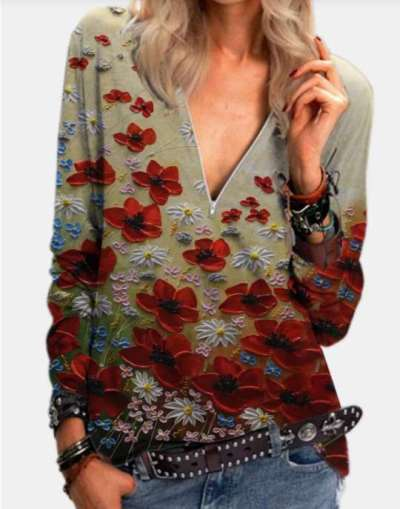 Fashion Floral print Zipper V neck Long sleeve T-Shirts