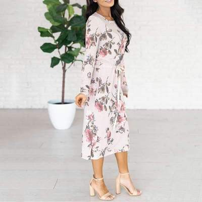 Women Floral print Round neck Long sleeve Lacing Skater Dresses