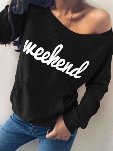 Fashion Word print Round neck Long sleeve Pocket T-Shirts
