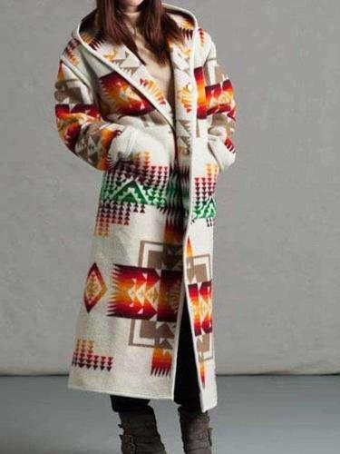 Geometry print Long sleeve Wool Long Coats