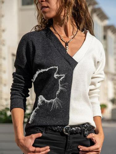 V neck women cat printed fashion long sleeve sweaters