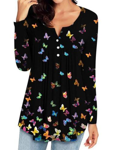 Women casual chic round neck butterfly women button long sleeve spring T-shirts