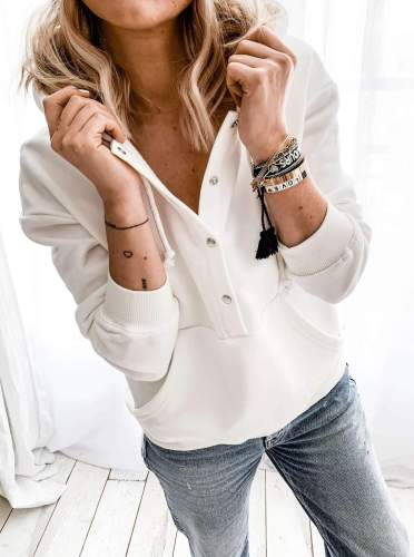 Women Casual Pure Long sleeve Pocket Hoodies Sweatshirts