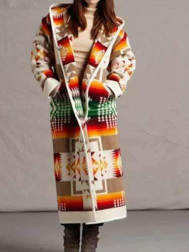 Geometry print Long sleeve Wool Long Coats