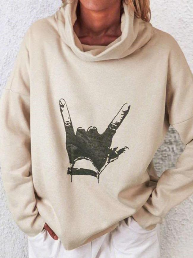 Casual Gesture print High collar Long sleeve Sweatshirts