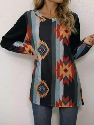 Casual Stripe Floral print V neck Long sleeve T-Shirts