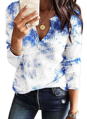 Women Plangi print V neck Long sleeve Knit T-Shirts