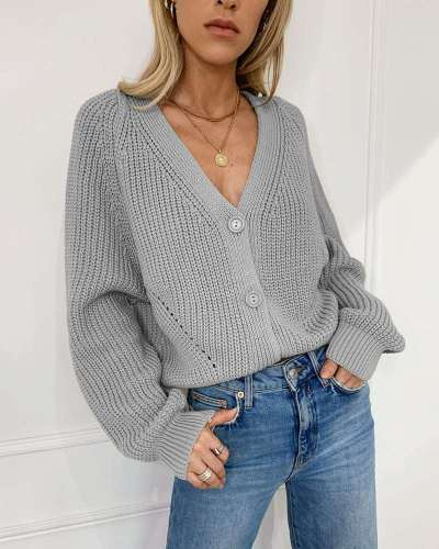 Casual Pure V neck Puff sleeve Knit Sweaters Cardigan