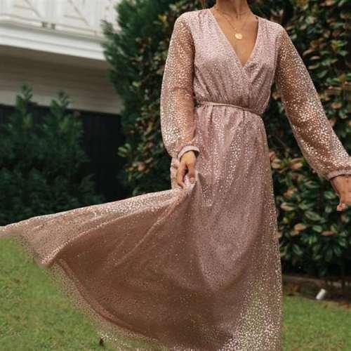 Fashion Sequin V neck Long sleeve Lacing Skater Maxi Dresses