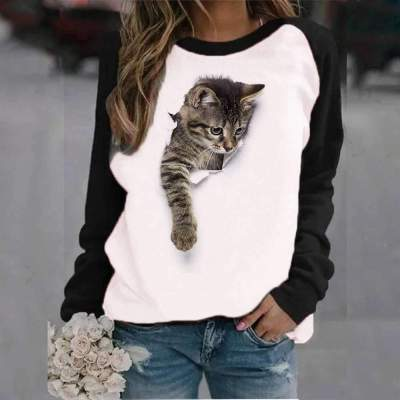 Casual Cat print Round neck Long sleeve Gored T-Shirts