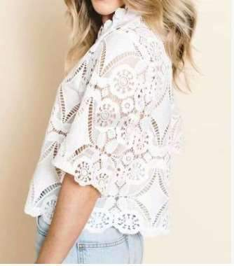 Casual Lace Hollow out Round neck Short sleeve T-Shirts