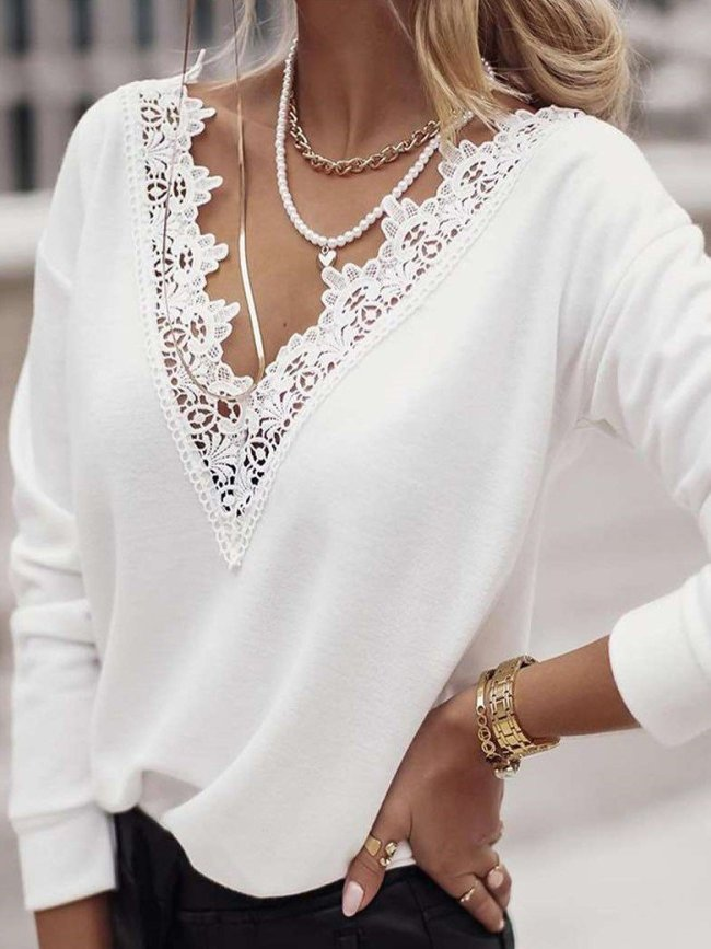 Stylish Pure Lace Gored V neck Long sleeve T-Shirts