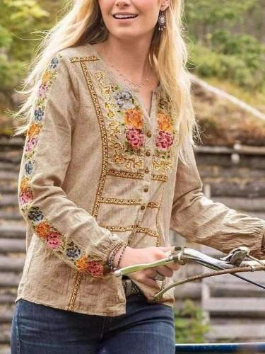 Casual Floral print V neck Long sleeve Blouses