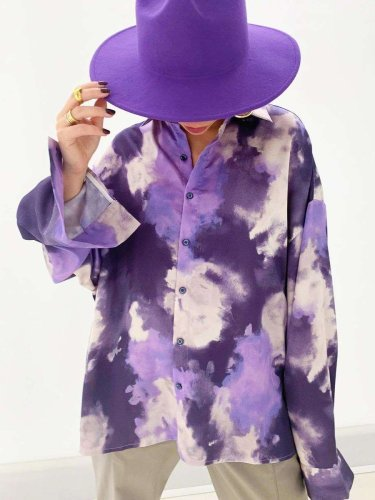 Casual Plangi print Lapel Long sleeve Blouses