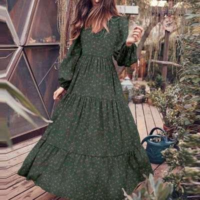 Casual Floral print Gored V neck Long sleeve Big hem Maxi Dresses