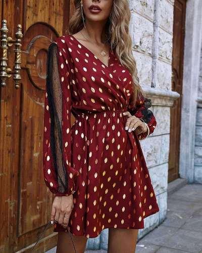 Stylish Point print V neck Grenadine Gored Long sleeve Skater Dresses