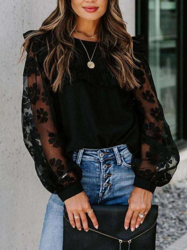 Fashion Lace Gored Round neck Long sleeve T-Shirts
