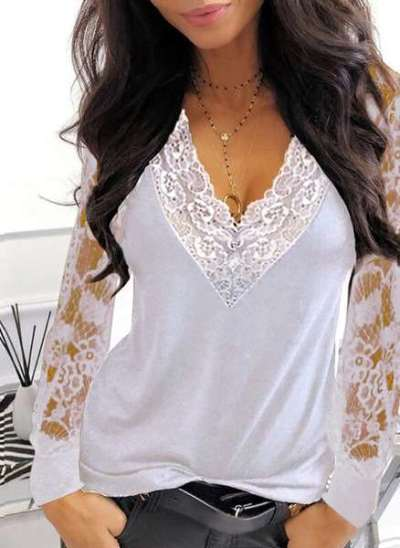 Casual Sexy Lace Gored V neck Long sleeve T-Shirts