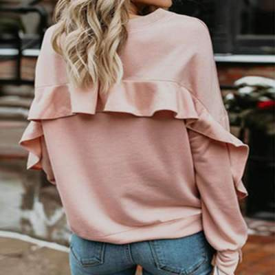 Fashion Casual Pure Round neck Long sleeve Falbala T-Shirts