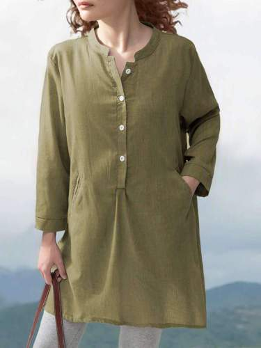 Casual Loose Pure Fastener Round neck Long sleeve Shirt Shift Dresses