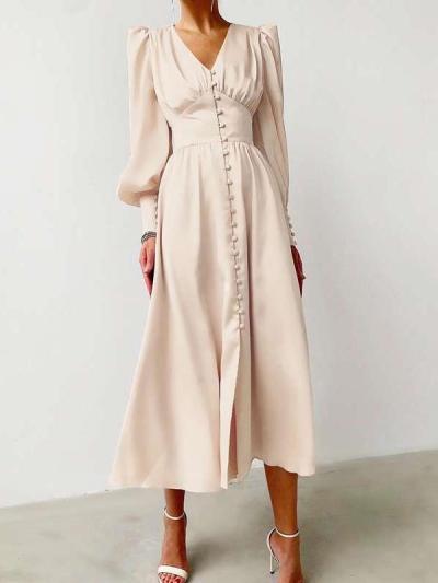 Elegant Pure V neck Long sleeve Skater Dresses